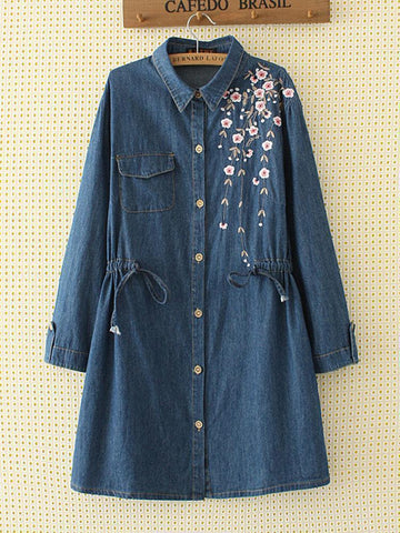 Front Open Long  Denim Embroidery Shirt - Chilgozay Clothing