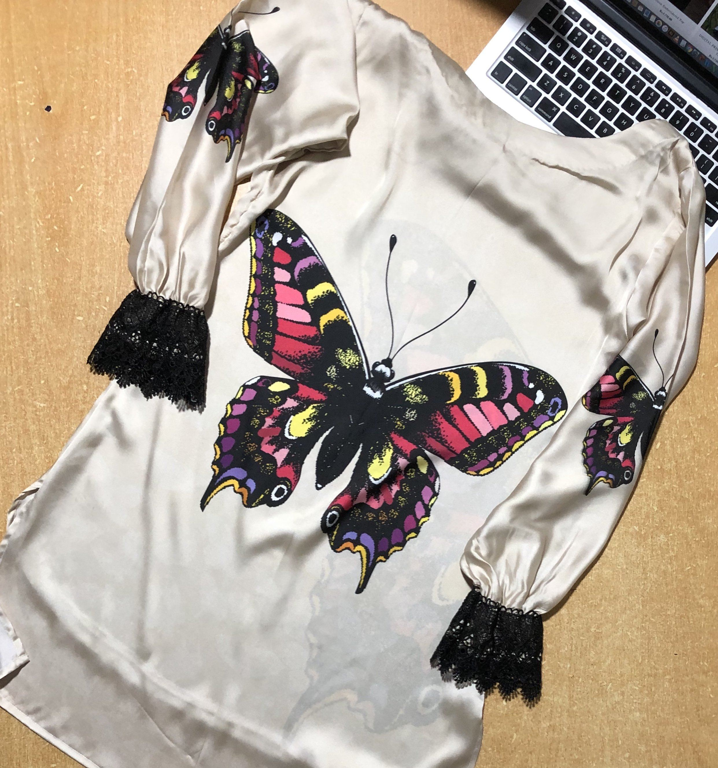 Super Fine 3D Silk Butter Fly Shirt For Women (CC-112)