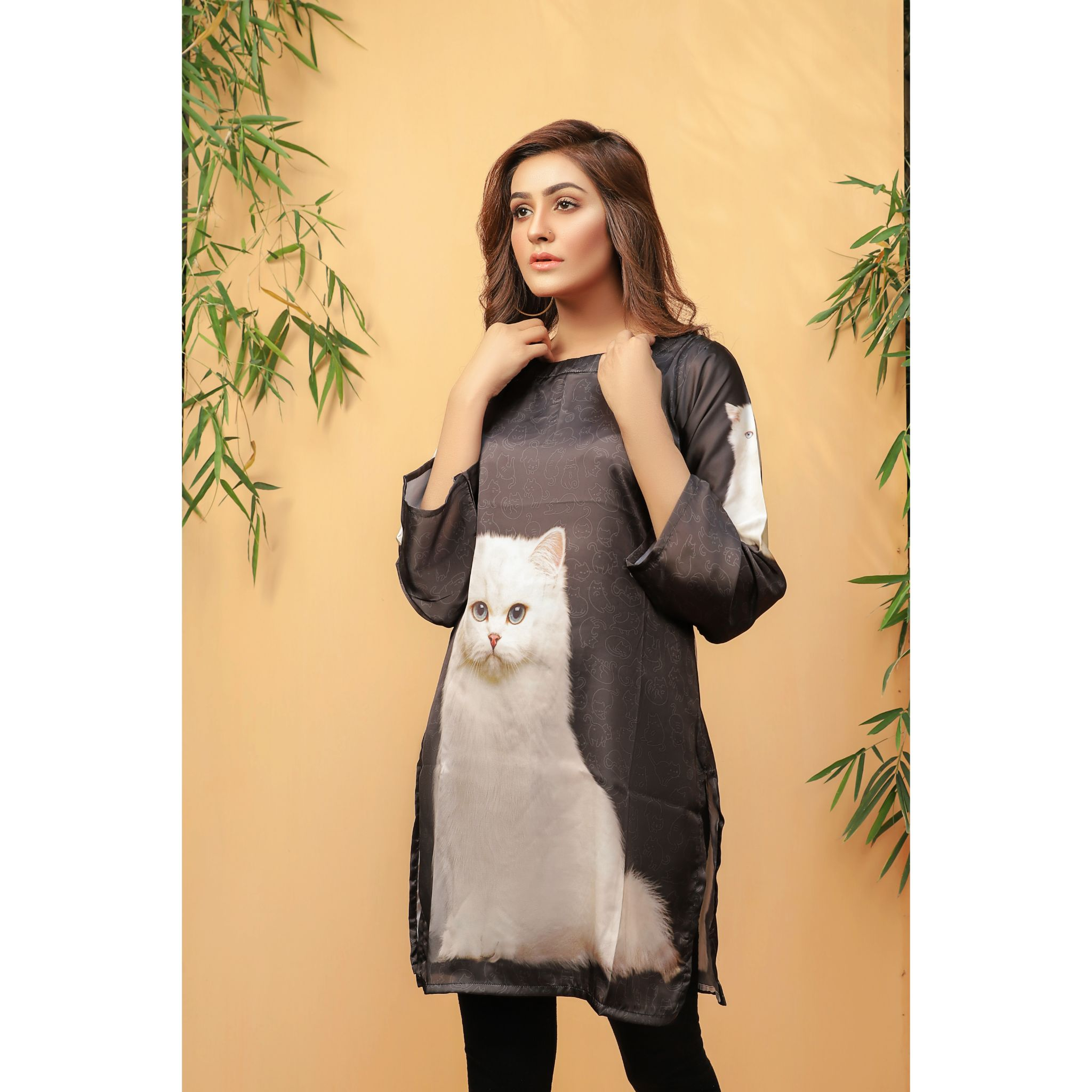 Super Fine 3D Cute Cat Silk Shirt For Women (CC-110)