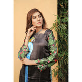 Super Fine 3D Macaw Silk Shirt For Women (CC-115)