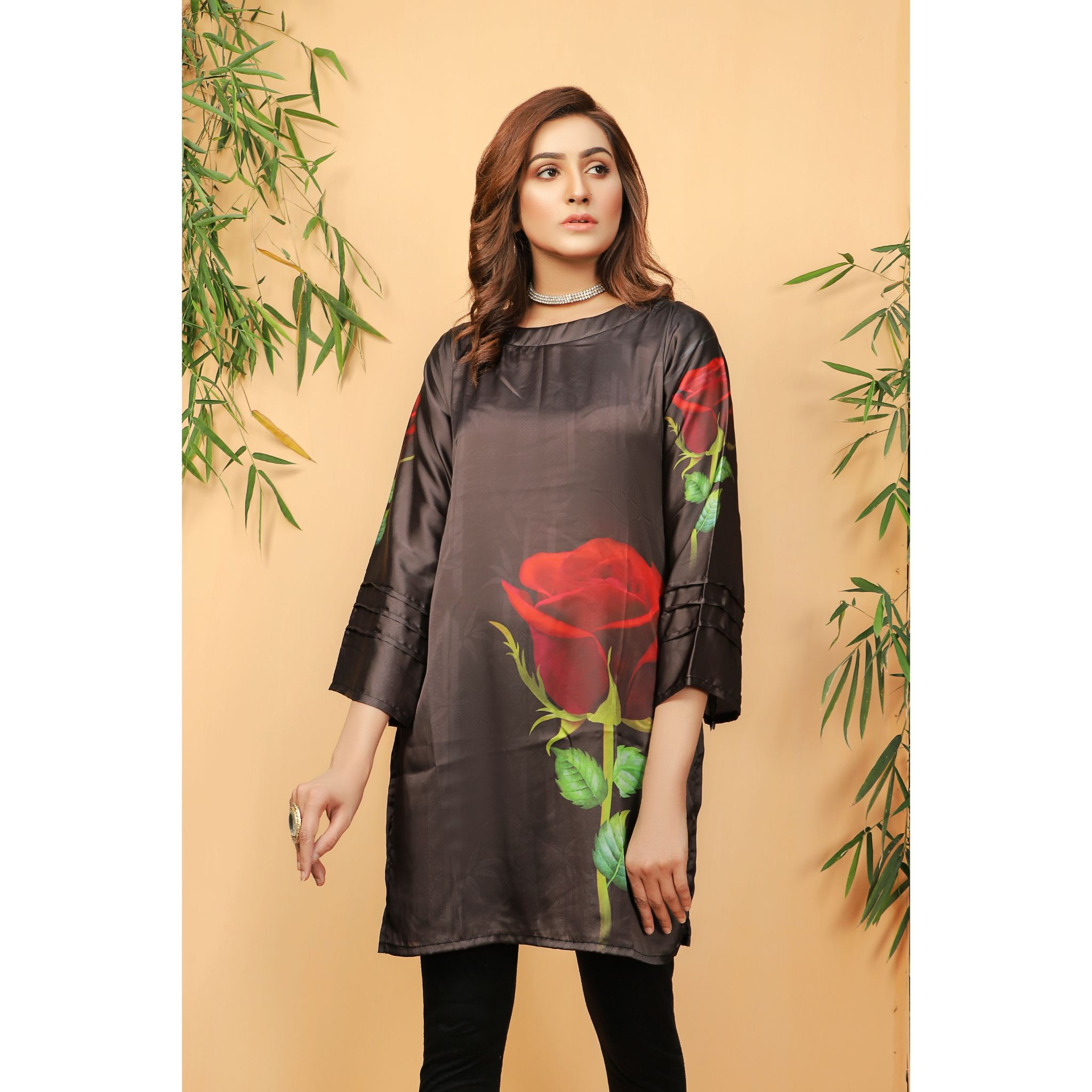 Super Fine 3D Rose Silk Shirt For Women (CC-114)