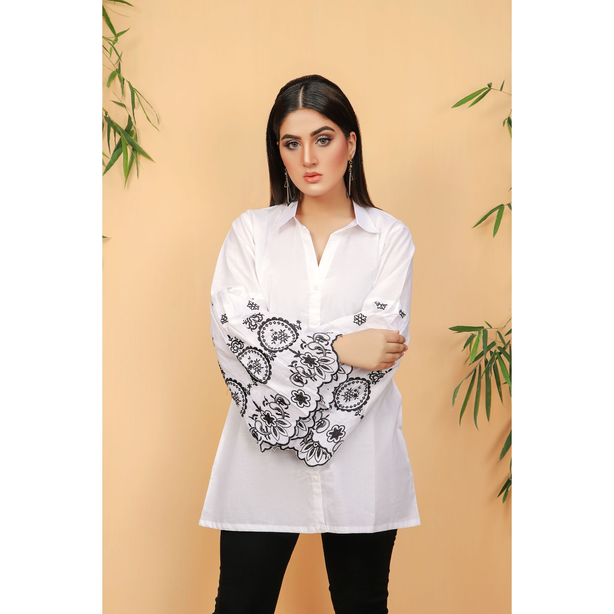 Pure White Bell Sleeve Women Embroidered Shirt (CC-132)