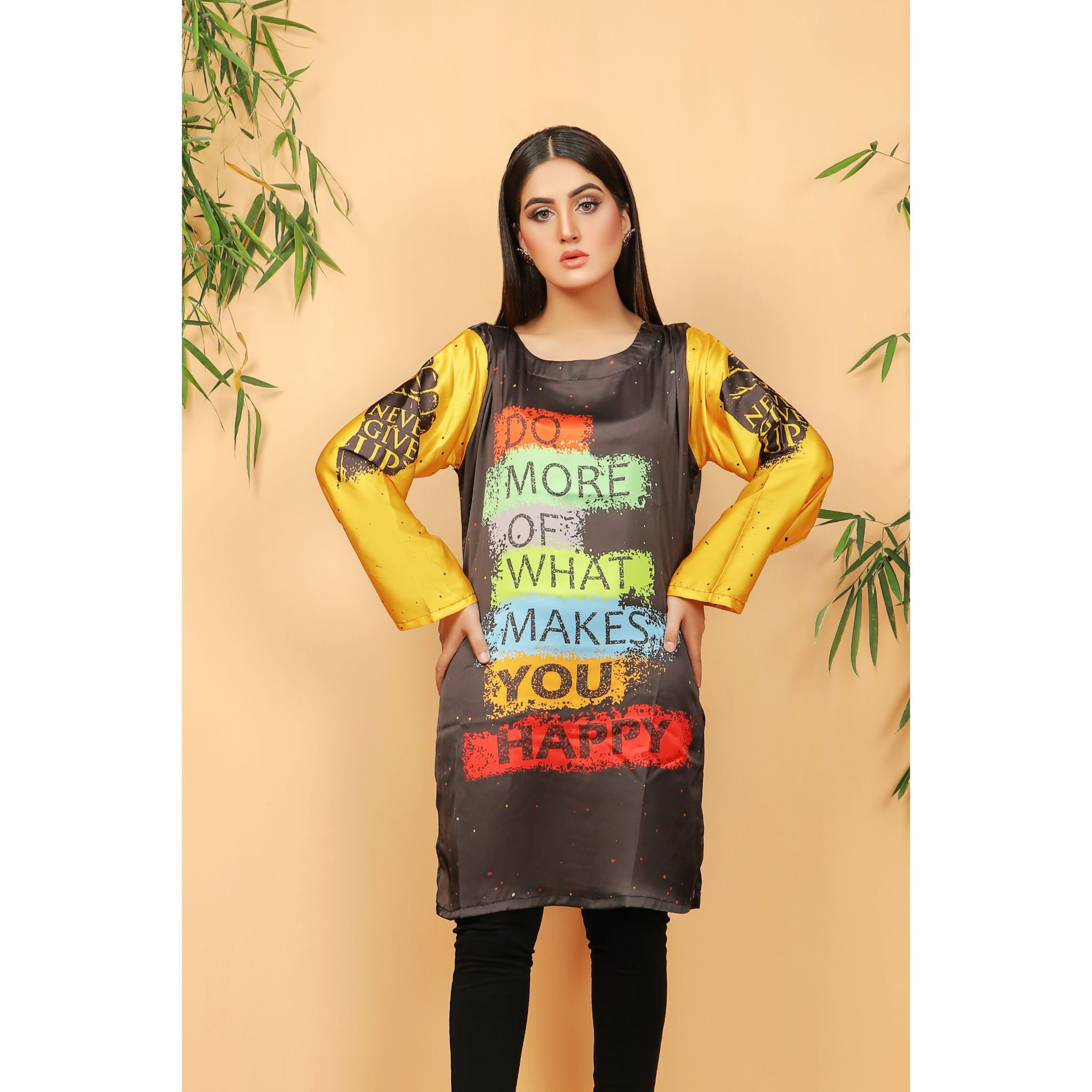 Super Fine 3D Positive Quotes Silk Shirt For Women (CC-111)