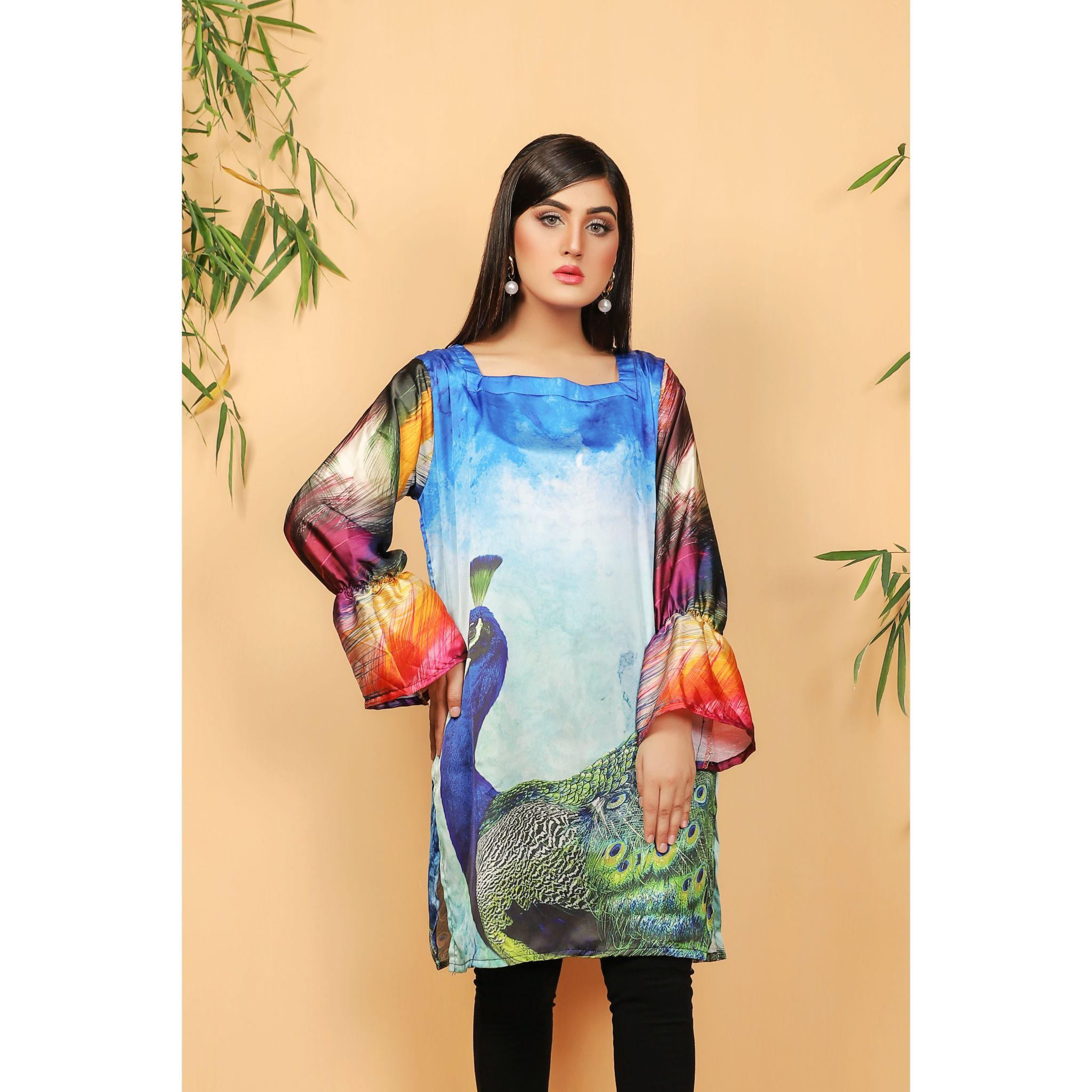 Super Fine 3D Silk Peacock Shirt For Women (CC-120)
