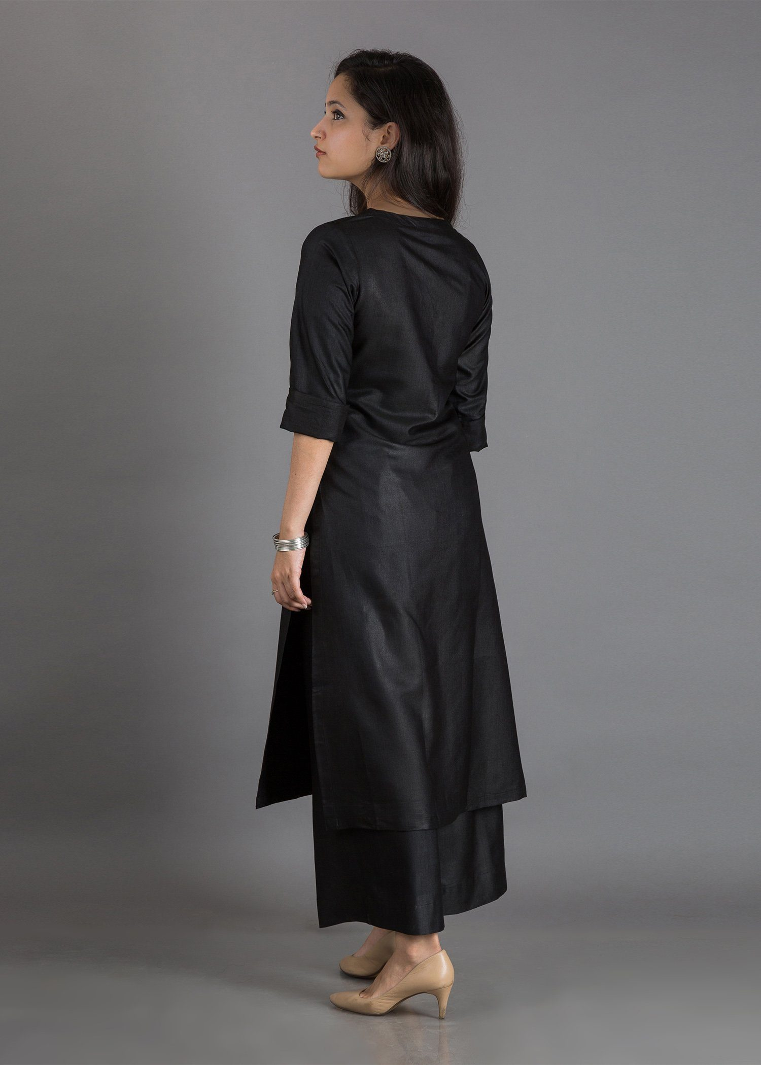 Raw Silk Black Dress - Chilgozay Clothing
