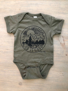 God is Good Heather Military Green Bodysuit