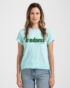 Kindness With Tree Tee Heather Blue