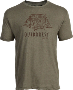 Outdoorsy Tent Tee Heather Military Green