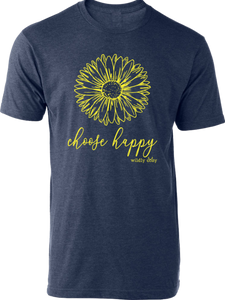 Choose Happy Tee Heather Navy