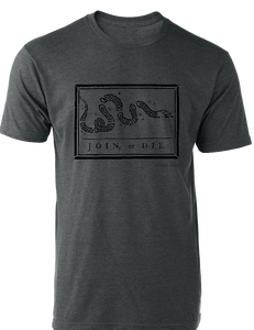 Join or Die Tee Heather Charcoal