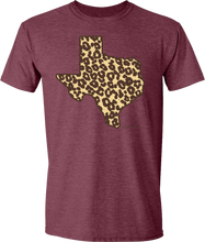 Load image into Gallery viewer, Leopard Texas Tee Heather Maroon