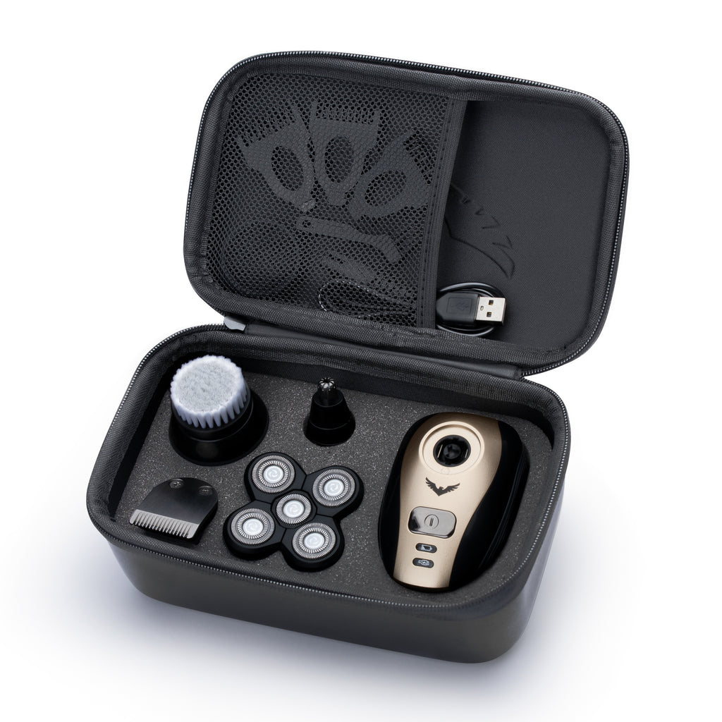 FlexSeries Travel Case, opened up showing the foam inserts that hold the electric head shaver as well as the multiple included accessories perfectly in place, with a snug fit. Perfect for people traveling or that want a safe place to store the equipment.