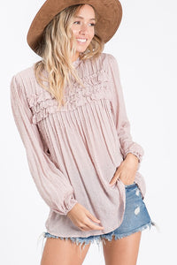 Mauve Embroidered Top