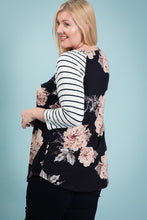 Load image into Gallery viewer, Plus Size Floral & Stripe LS