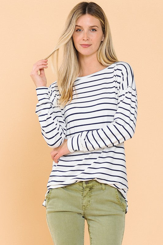 Navy/White Striped Long Sleeve