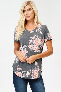 Plus Size Gray Floral Tee
