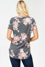 Load image into Gallery viewer, Plus Size Gray Floral Tee