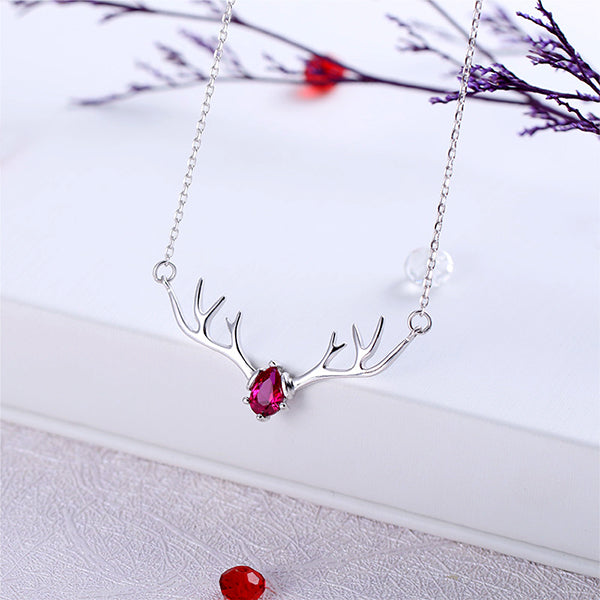Sterling Silver Necklace Deer Antlers Antler Jewelry Mom Gift I LOVE YOU NECKLACE Mothers Day Gift Dainty Necklace Antler Necklace