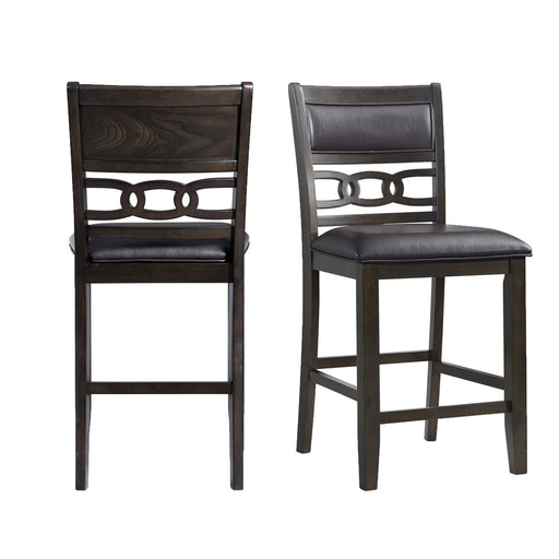 Amherst Counter Height Faux Leather Side Chair Set in Walnut of 2 image