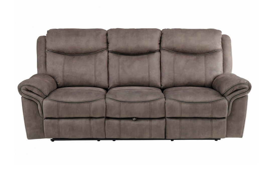 Homelegance Furniture Aram Double Glider Reclining Sofa in Dark Brown 8206NF-3 image