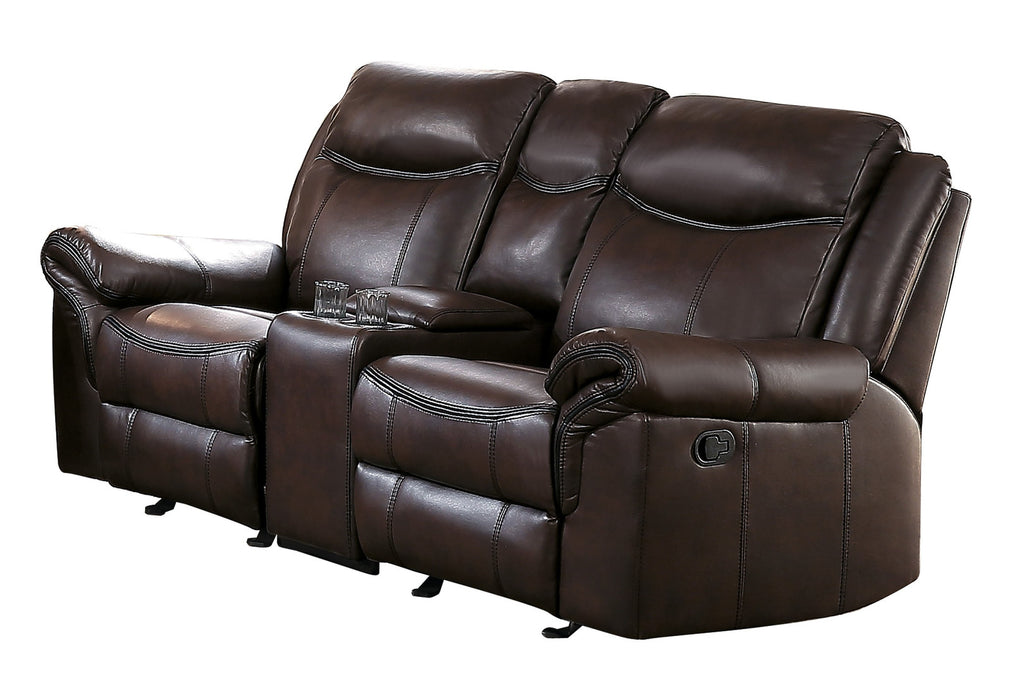 Homelegance Furniture Aram Double Glider Reclining Loveseat in Brown 8206BRW-2 image