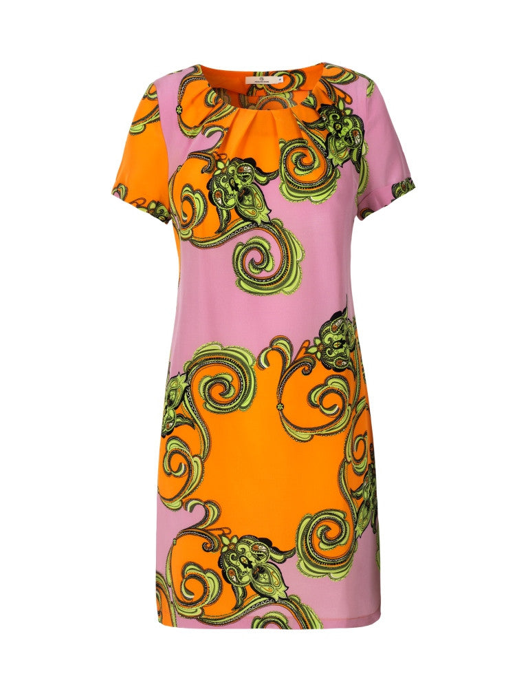 Load image into Gallery viewer, 1118 Pleat dress Ida allover Orange/Rose