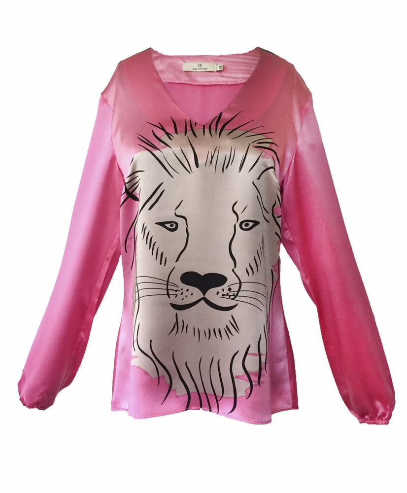 1301 V-neck blouse Lion Pink
