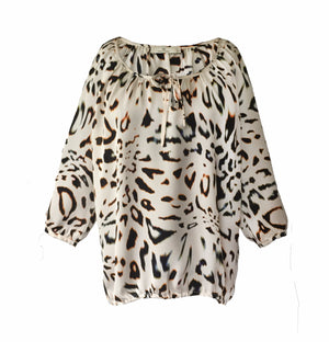 1338 Tie blouse Big leopard Cream