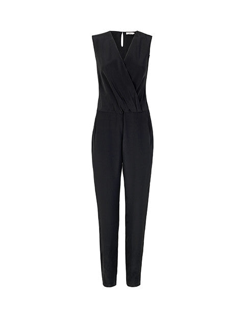 Load image into Gallery viewer, 1347S Wrap jumpsuit Solid Black