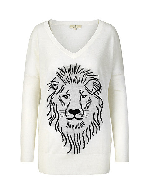 1376 Bat knit Lion Off white