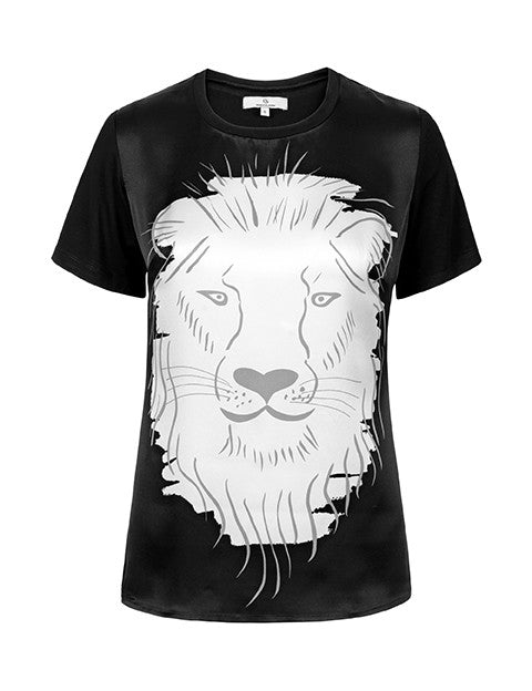 Load image into Gallery viewer, 1380 Silk front T-shirt Lion Black