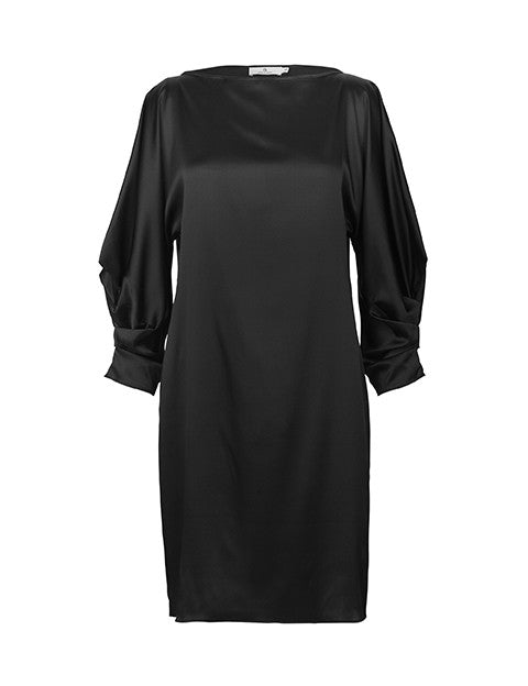 Load image into Gallery viewer, 1466S Anna dress Solid satin Black
