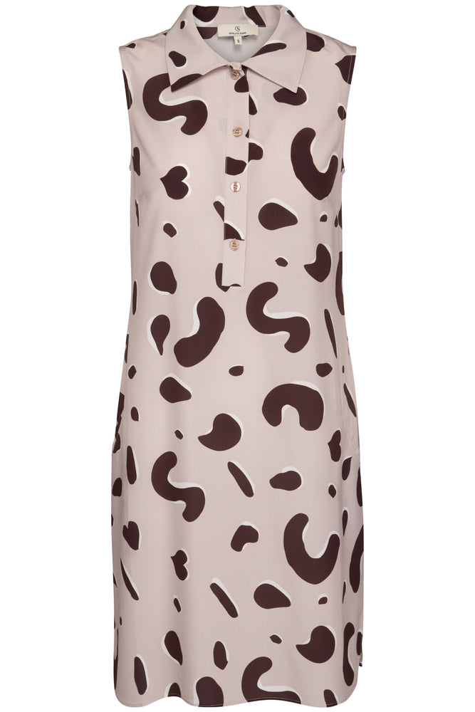 Load image into Gallery viewer, 1702L Sleeveless shirt dress long Shadow leopard Sand