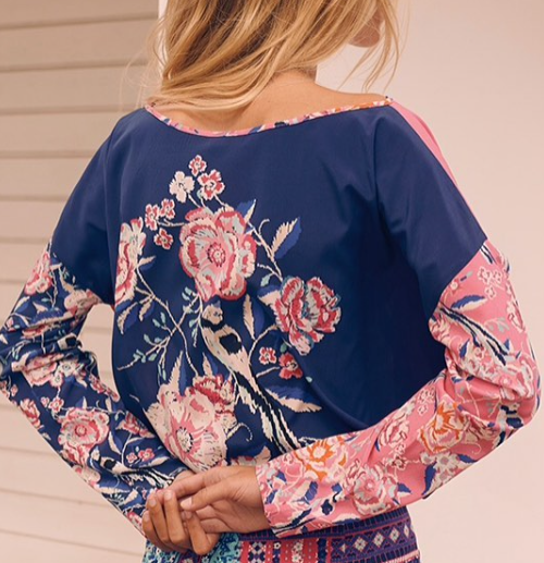 1900 Patch blouse Sweet bird Navy