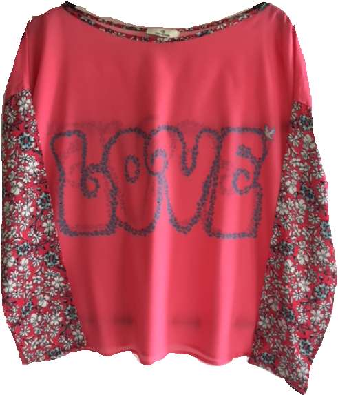 1900 Patch blouse Love dove Red
