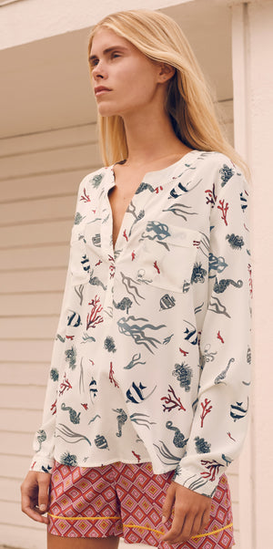 Load image into Gallery viewer, 1924 Shirt blouse Sea life White