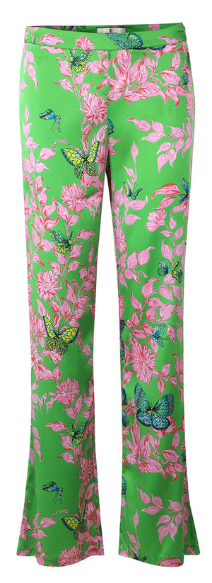 Load image into Gallery viewer, 2133 Slim pants Bfly garden allover Green