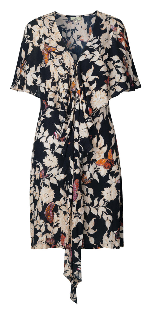Load image into Gallery viewer, 2146 Cape dress Bfly garden allover Black