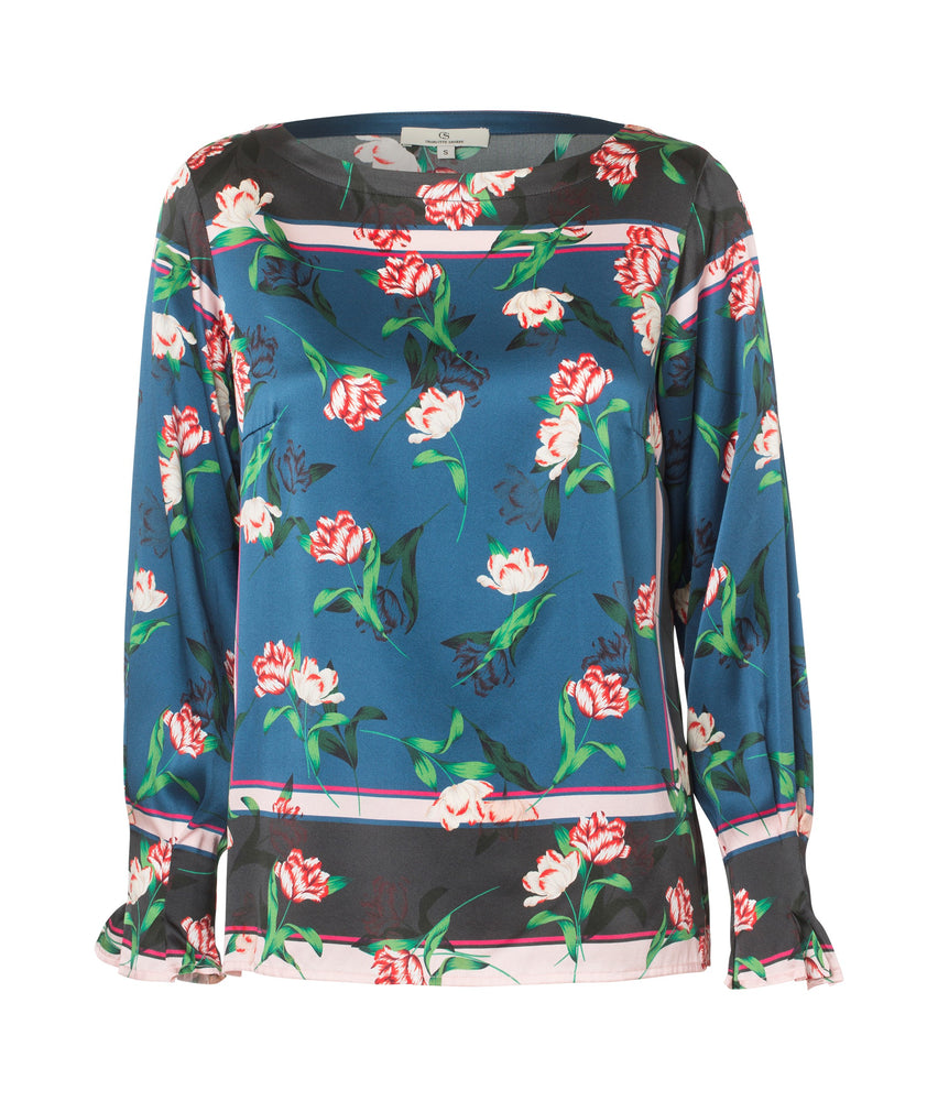 Load image into Gallery viewer, 2201 Fold sleeve blouse Shadow tulips Blue