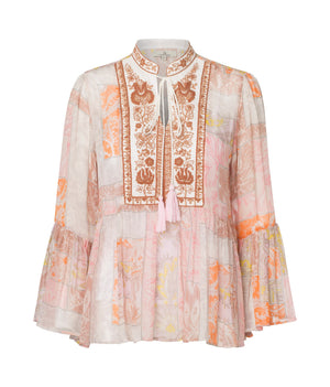 Load image into Gallery viewer, 2349 Bohemian blouse Paisley square Sand