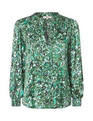 Load image into Gallery viewer, 2424 Fold front blouse Dotea Green