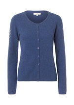 2437 Cashmere cardigan button Solid Navy