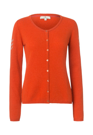 2437 Cashmere cardigan button Solid Orange
