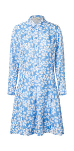 2551 Cool shirt dress Solid flowers Blue