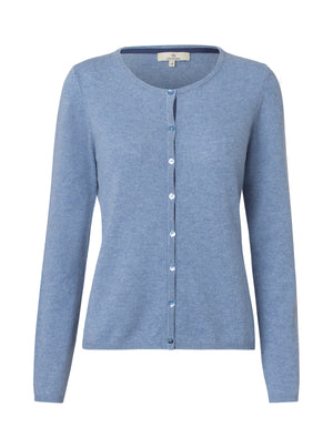 2593 Cashmere cardigan button Solid Blue