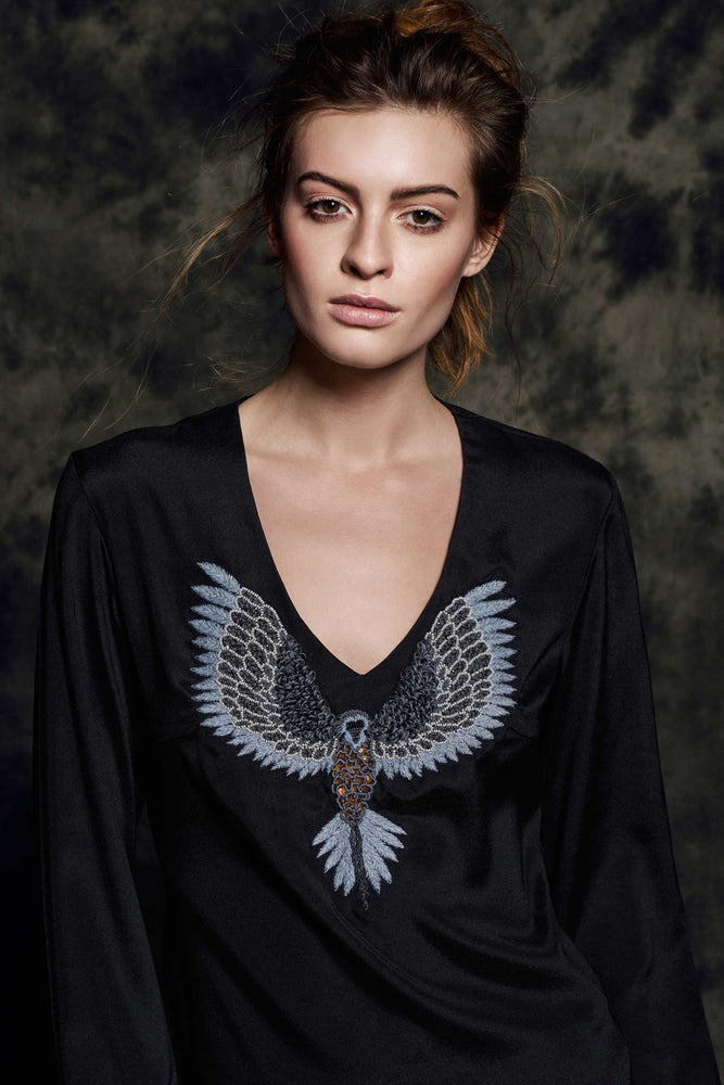 Load image into Gallery viewer, 1461S V-neck blouse Mat black - Bird grey