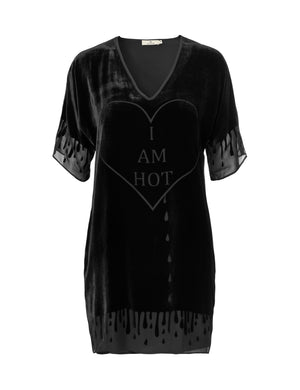 1203V Superdress V-neck I am hot Black
