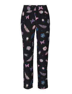 Load image into Gallery viewer, 1130 Silk pants Summer garden Black