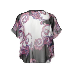 Load image into Gallery viewer, 1132 Circle blouse Ida allover chiffon White/black
