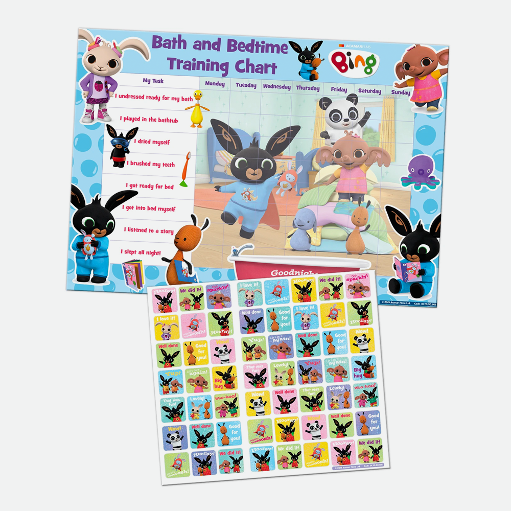Bing Bath and Bedtime Training Chart with Reward Stickers